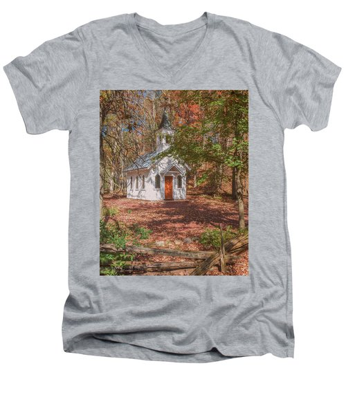 Chapel In Woods At Red Mill 3 Men's V-Neck T-Shirt