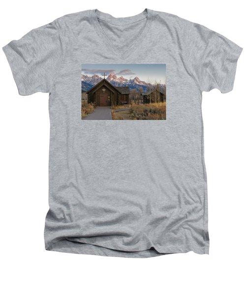 Chapel Of The Transfiguration - II Men's V-Neck T-Shirt by Gary Lengyel