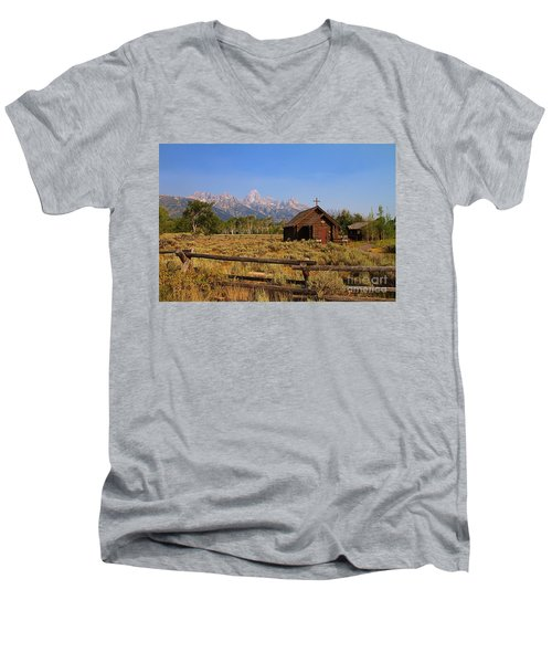Chapel Of The Transfiguration Men's V-Neck T-Shirt by Teresa Zieba