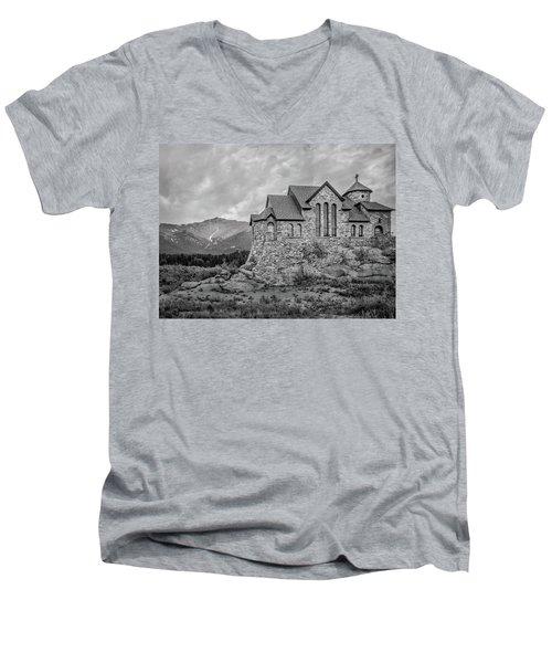 Chapel On The Rock - Black And White Men's V-Neck T-Shirt