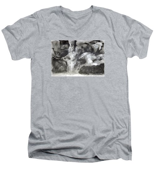 Charcoal Waterfall Men's V-Neck T-Shirt
