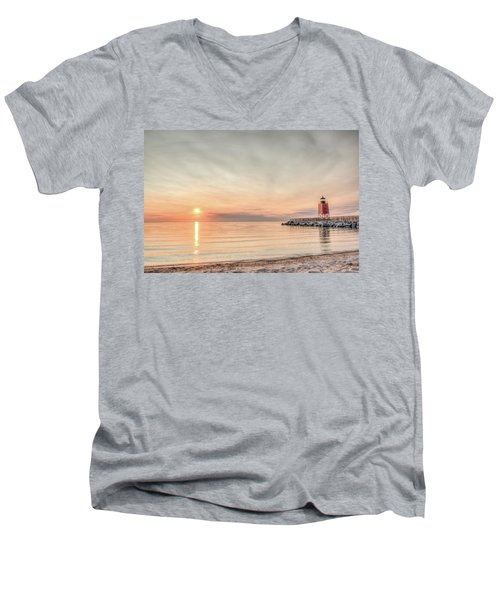 Men's V-Neck T-Shirt featuring the photograph Charelvoix Lighthouse In Charlevoix, Michigan by Peter Ciro