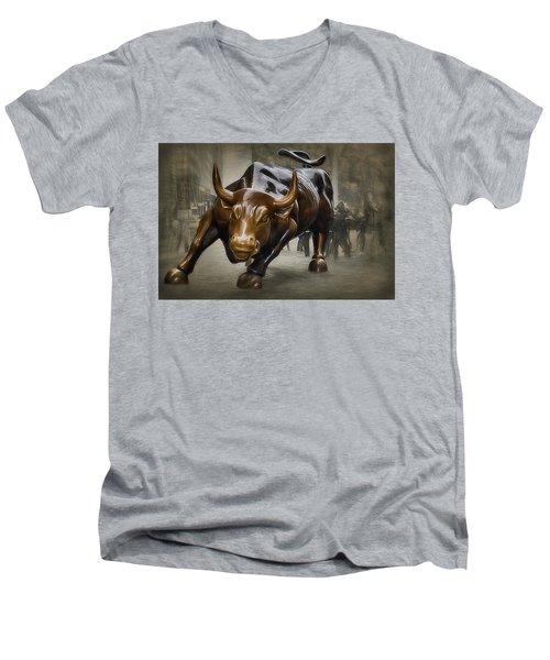 Charging Bull Men's V-Neck T-Shirt by Dyle Warren