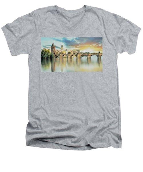 Charles Bridge Men's V-Neck T-Shirt by Maciek Froncisz