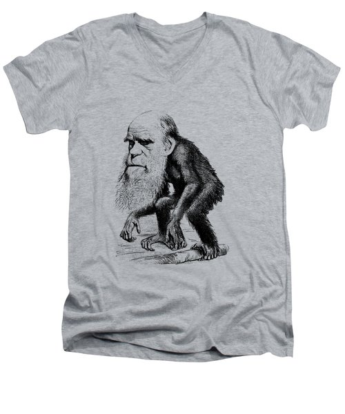 Charles Darwin As An Ape Cartoon Men's V-Neck T-Shirt