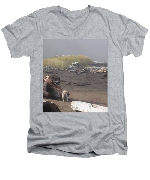 Charlie On Irish Beach Men's V-Neck T-Shirt