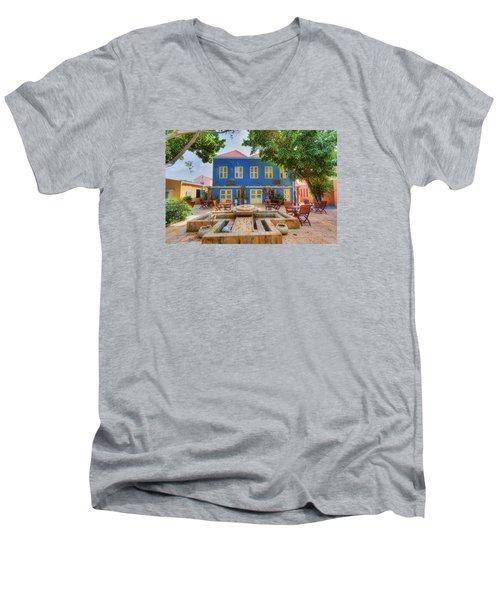 Charming Courtyard Men's V-Neck T-Shirt by Nadia Sanowar