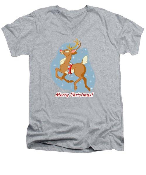 Charming Retro Reindeer Men's V-Neck T-Shirt