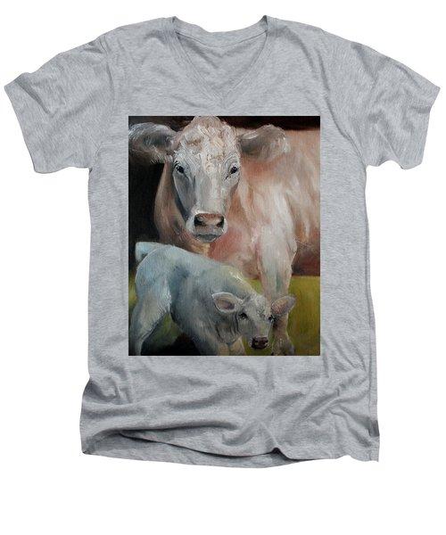 Charolais Cow Calf Painting Men's V-Neck T-Shirt by Michele Carter