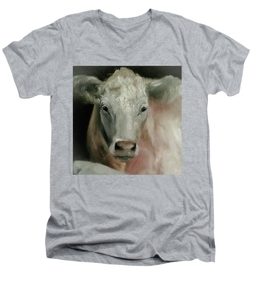 Charolais Cow Painting Men's V-Neck T-Shirt by Michele Carter