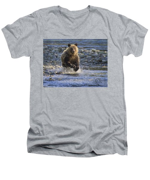 Chasing Salmon Men's V-Neck T-Shirt by Inge Riis McDonald