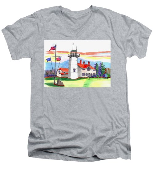 Chatham Lighthouse Men's V-Neck T-Shirt by Paul Meinerth
