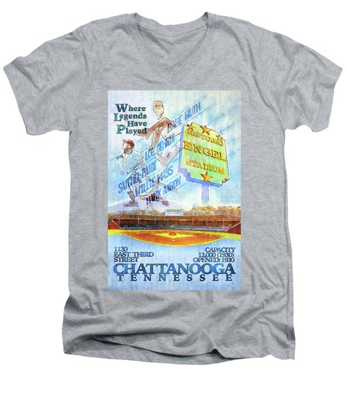 Chattanooga Historic Baseball Poster Men's V-Neck T-Shirt by Steven Llorca