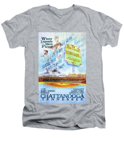 Chattanooga Historic Baseball Poster Men's V-Neck T-Shirt