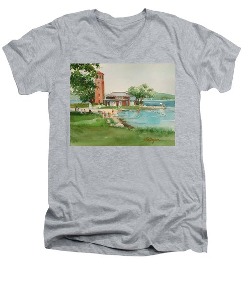 Chautauqua Bell Tower And Beach Men's V-Neck T-Shirt