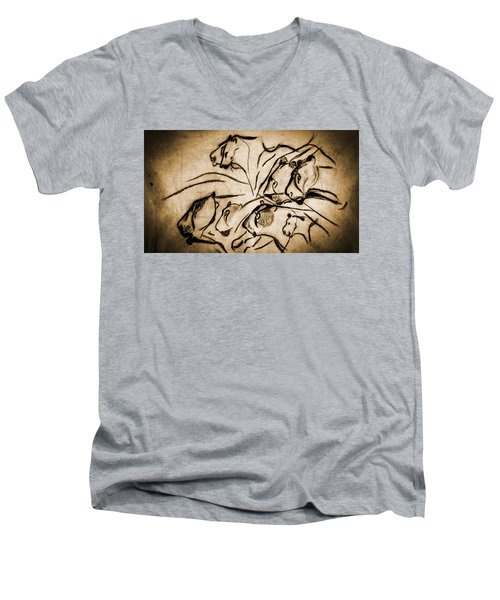 Chauvet Cave Lions Burned Leather Men's V-Neck T-Shirt