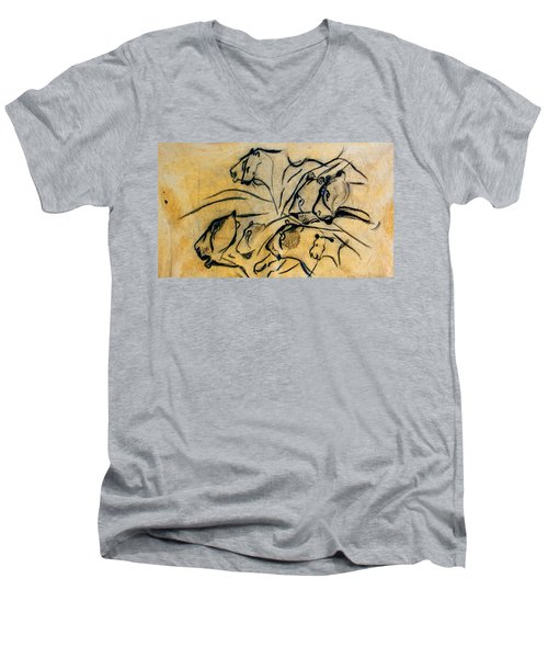chauvet cave lions Clear Men's V-Neck T-Shirt