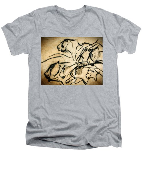 Chauvet Cave Lions Men's V-Neck T-Shirt