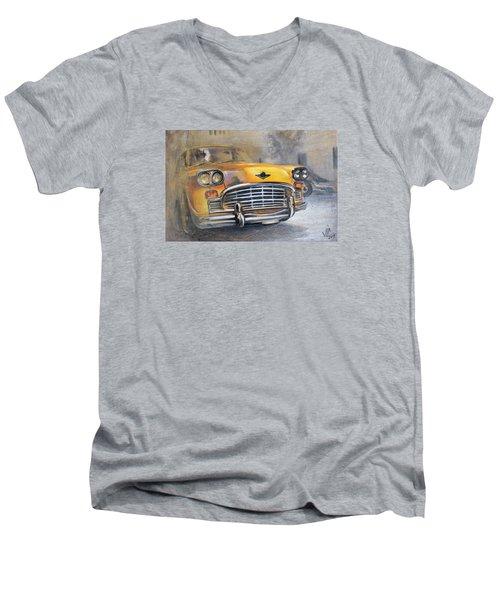 Checker Taxi Men's V-Neck T-Shirt by Vali Irina Ciobanu