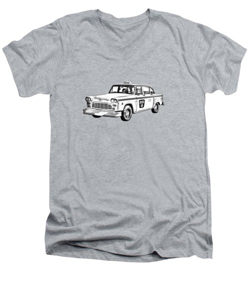 Checkered Taxi Cab Illustrastion Men's V-Neck T-Shirt