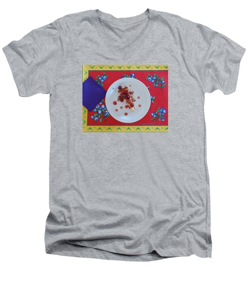Men's V-Neck T-Shirt featuring the digital art Cheese Cake With Cherries by Jana Russon