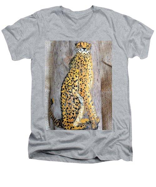 Cheetah Men's V-Neck T-Shirt by Ann Michelle Swadener