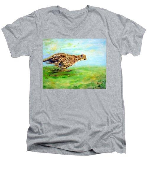Cheetah At Speed Men's V-Neck T-Shirt