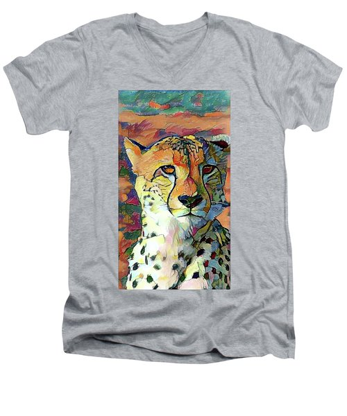 Cheetah Face Men's V-Neck T-Shirt