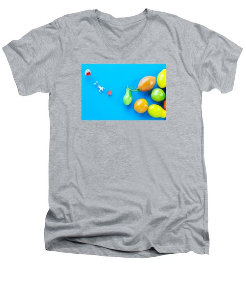 Men's V-Neck T-Shirt featuring the painting Chef Tumbled In Front Of Colorful Tomatoes II Little People On Food by Paul Ge