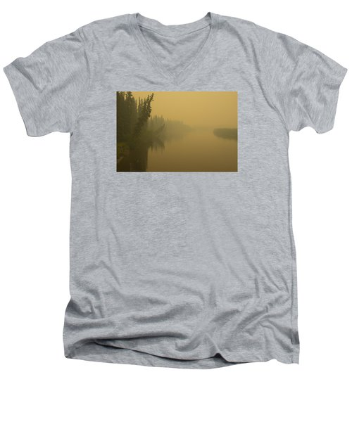 Men's V-Neck T-Shirt featuring the photograph Chena River by Gary Lengyel
