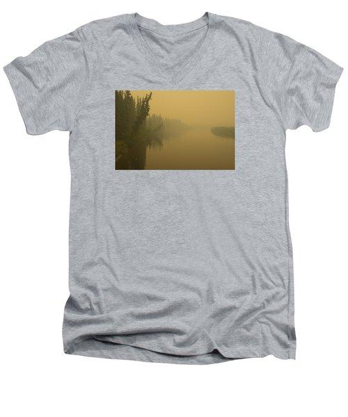 Chena River Men's V-Neck T-Shirt by Gary Lengyel