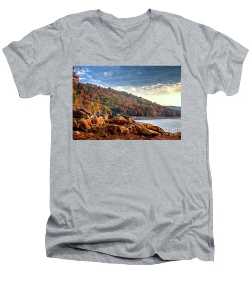 Men's V-Neck T-Shirt featuring the photograph Cherokee Lake Color II by Douglas Stucky