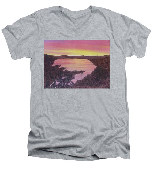 Men's V-Neck T-Shirt featuring the painting Cherokee Lake Sunset Number Seven by Joel Deutsch