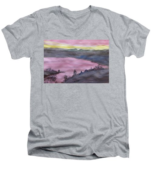 Men's V-Neck T-Shirt featuring the painting Cherokee Lake - Watercolor Sketch  by Joel Deutsch