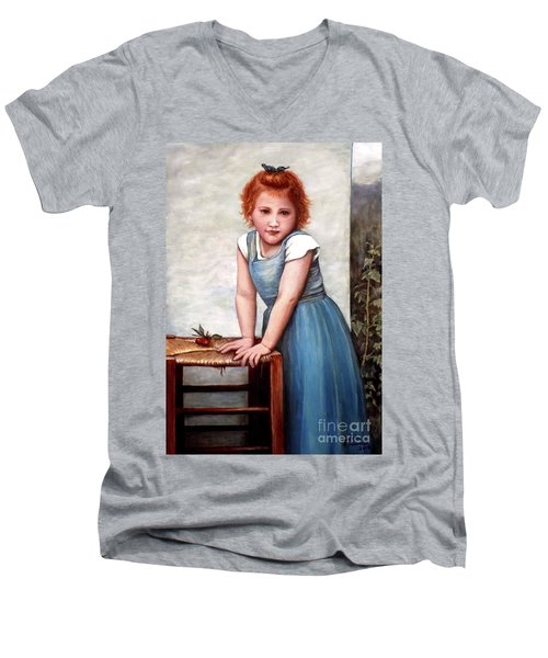 Men's V-Neck T-Shirt featuring the painting Cherries by Judy Kirouac