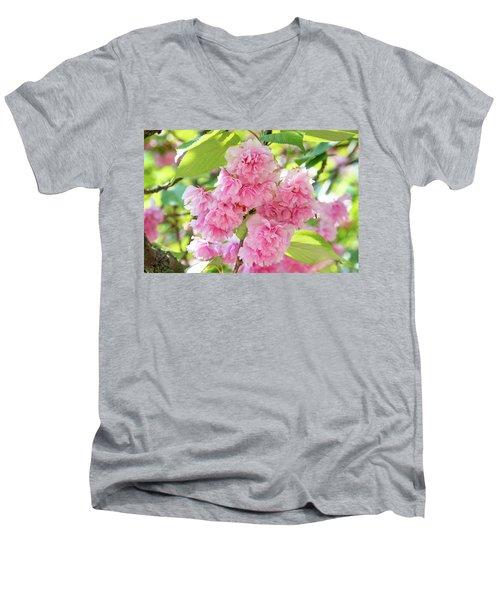 Cherry Blossom Cluster Men's V-Neck T-Shirt