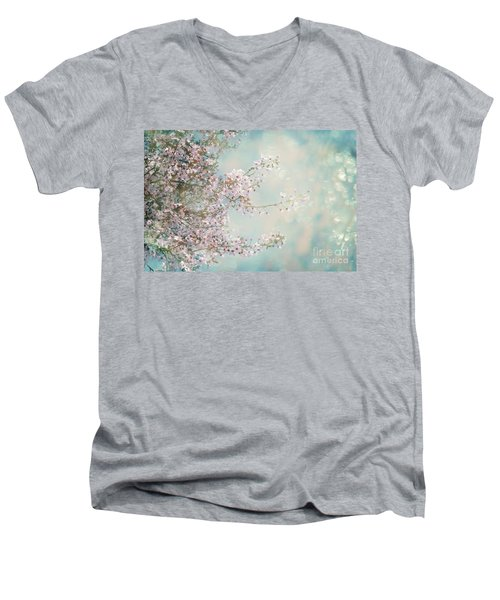 Men's V-Neck T-Shirt featuring the photograph Cherry Blossom Dreams by Linda Lees