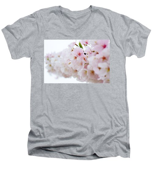 Cherry Blossom Focus Men's V-Neck T-Shirt