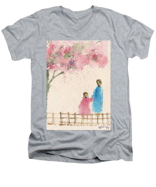 Cherry Blossom Tree Over The Bridge Men's V-Neck T-Shirt