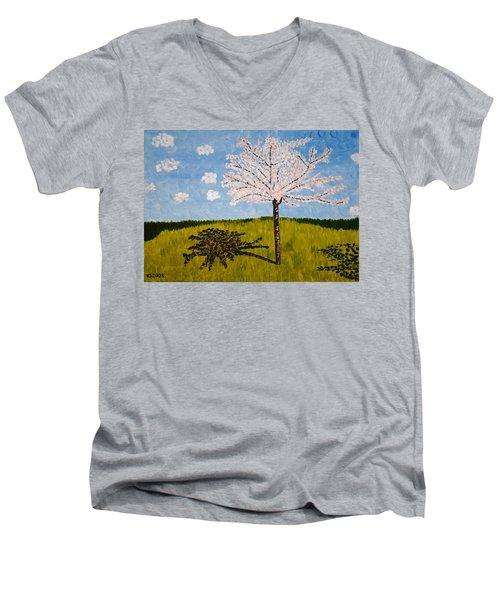 Cherry Blossom Tree Men's V-Neck T-Shirt by Valerie Ornstein