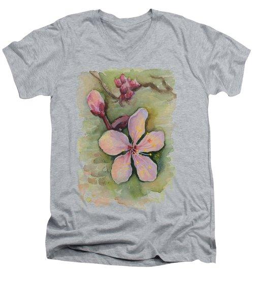 Cherry Blossom Watercolor Men's V-Neck T-Shirt