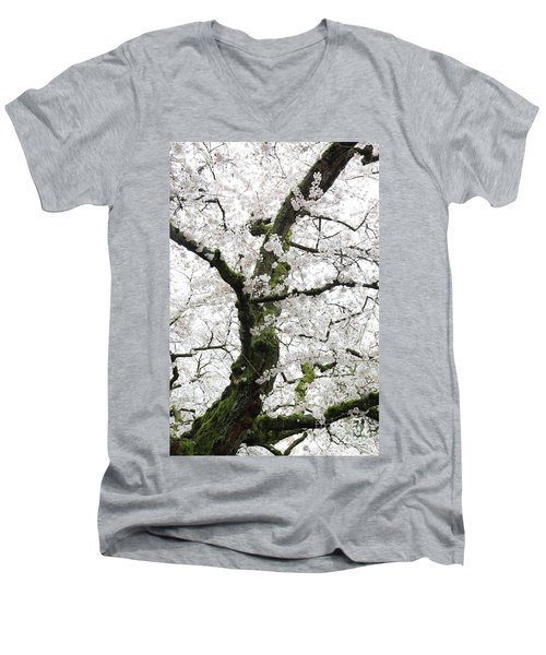 Men's V-Neck T-Shirt featuring the photograph Cherry Blossoms 119 by Peter Simmons
