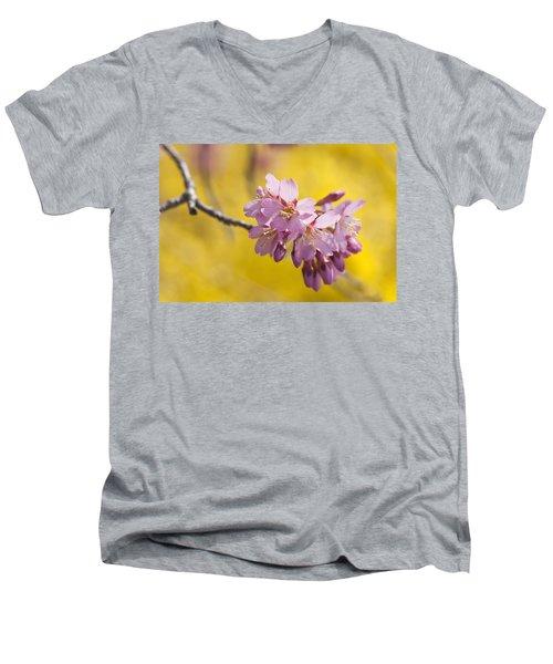 Cherry Blossoms Against Yellow Men's V-Neck T-Shirt