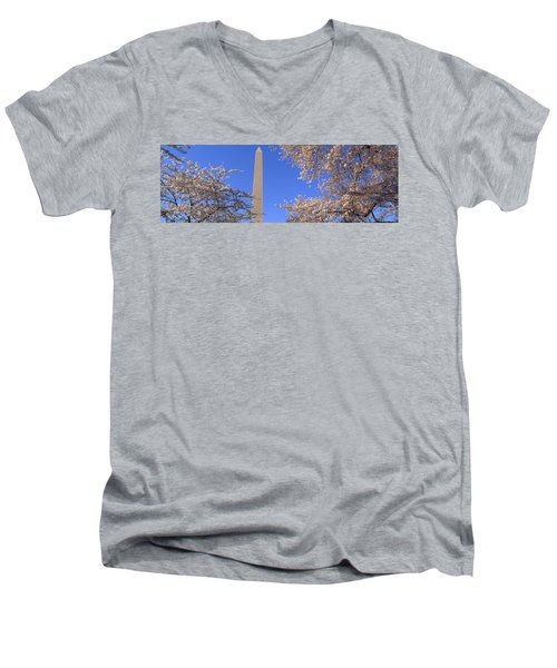 Cherry Blossoms And Washington Men's V-Neck T-Shirt by Panoramic Images