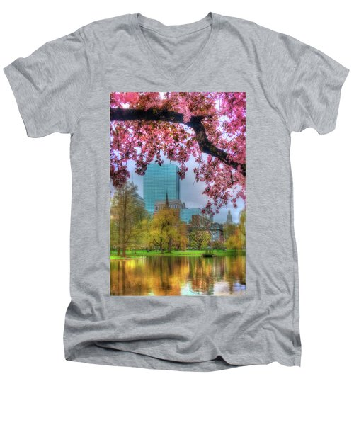 Men's V-Neck T-Shirt featuring the photograph Cherry Blossoms Over Boston by Joann Vitali