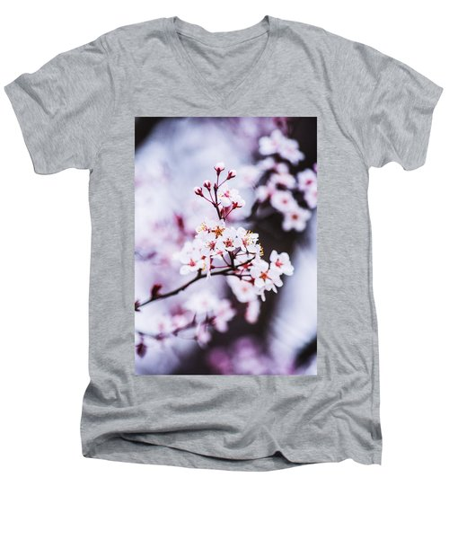 Men's V-Neck T-Shirt featuring the photograph Cherry Blossoms by Parker Cunningham