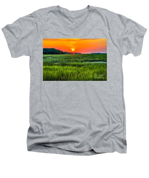 Cherry Grove Marsh Sunrise Men's V-Neck T-Shirt by David Smith