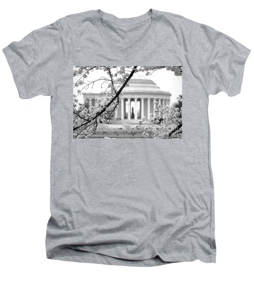 Cherry Tree And Jefferson Memorial Elegance  Men's V-Neck T-Shirt