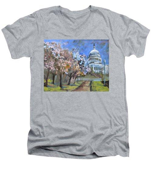Cherry Tree Blossoms In Washington Dc Men's V-Neck T-Shirt