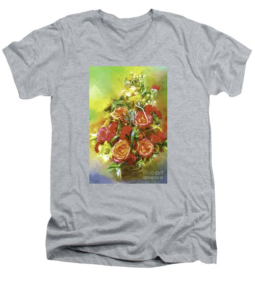 Cheryls Bouquet Men's V-Neck T-Shirt by Ken Frischkorn